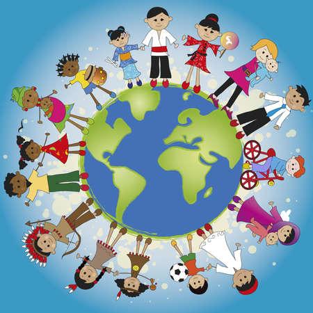 tolerancia: familia en todo el mundo Foto de archivo
