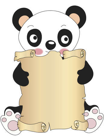 panda with parchment photo