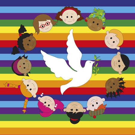 multi racial: peace whit dove