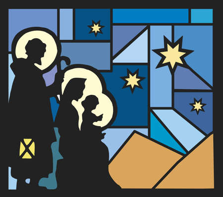 illustration of nativity with a mosaic background