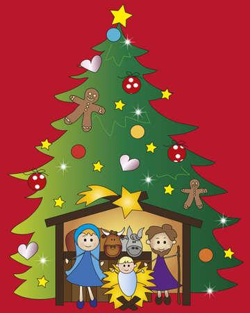 pesebre: ilustraci�n de la natividad con el �rbol de navidad