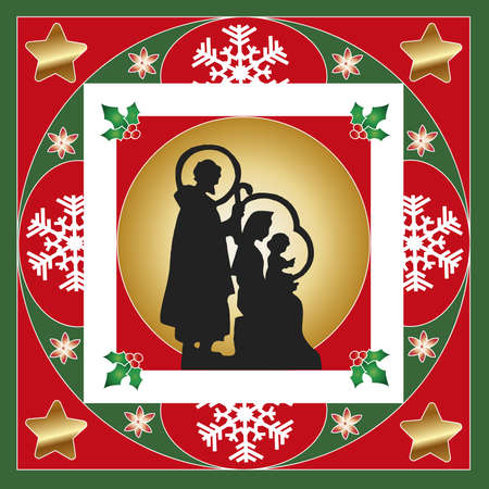 illustration of nativity card with frames and decorations illustration