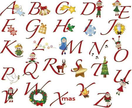 alphabet christmas with fun illustration Stock Photo