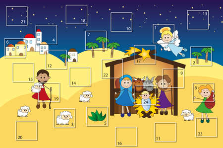advent calendar with nativity photo