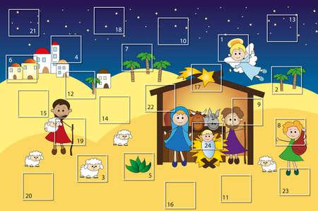 advent calendar:  advent calendar with nativity