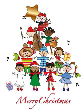 piramide humana: Navidad con los ni�os