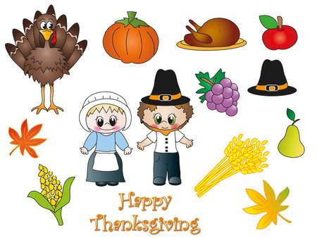 gamebird: thanksgiving icons isolated Stock Photo