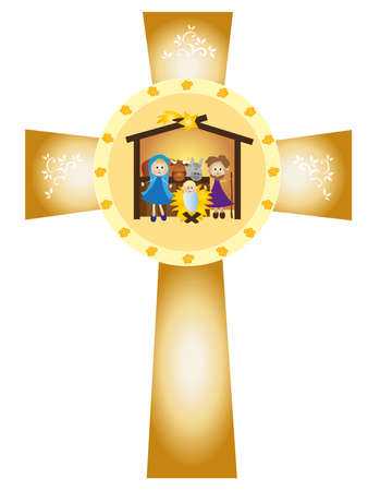 christ is born: illustration of nativity in the cross