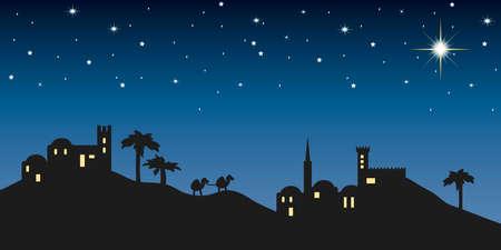 Sfondo notte di Betlemme per il Natale Archivio Fotografico - 23100062
