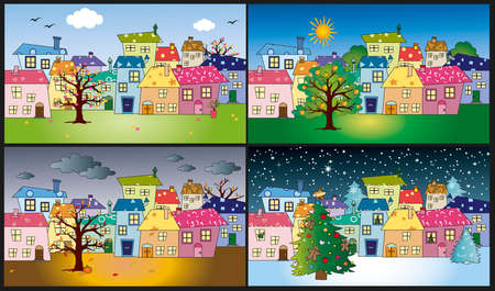 four season: four seasons in a funny country Stock Photo