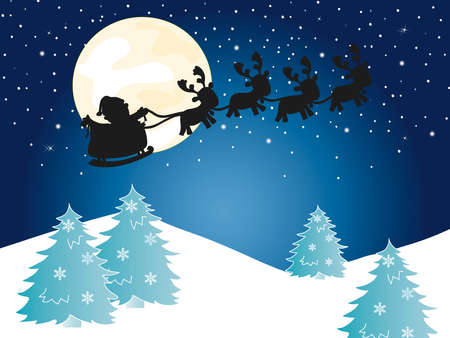 christmas with santa claus silhouette photo