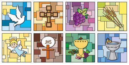 eucharistie: religion icônes isolé