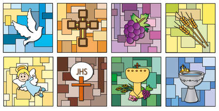 the first communion: religion icons isolated