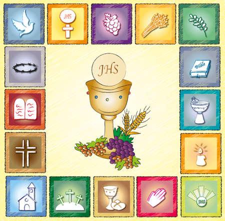 eucharistie: carte de Religion Banque d'images