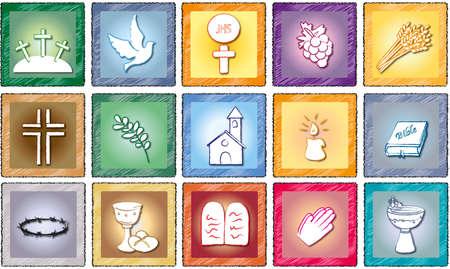 religie iconen geïsoleerd Stockfoto