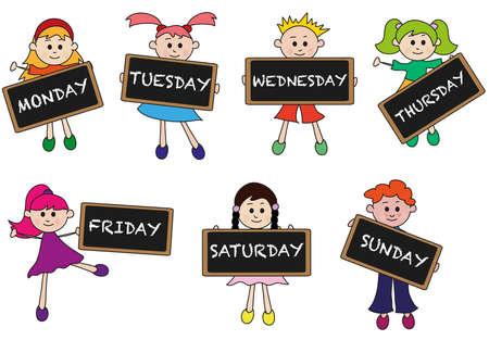 Tagen der Woche mit Kindern Standard-Bild