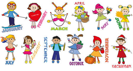 months with funny children photo