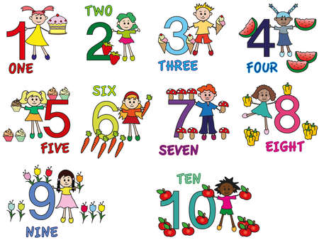 numbers with funny children photo