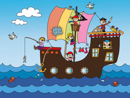 pirate ship with funny children photo