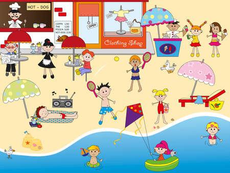 cartoon bathing: on the beach