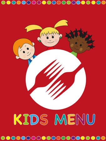 kids menu with happy children photo