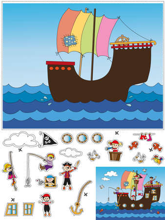 pirate girl: game for children  cut and paste