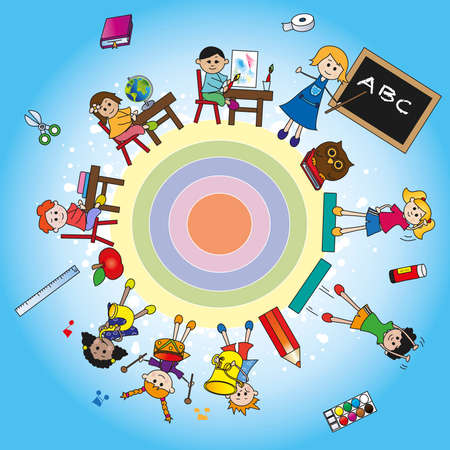 school world with children photo