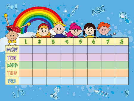 timetable: school timetable with children Stock Photo