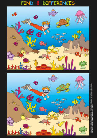 barracuda: game for children  find the eight differences Stock Photo