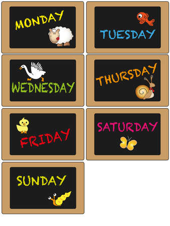 days of week: Days of week on blackboard