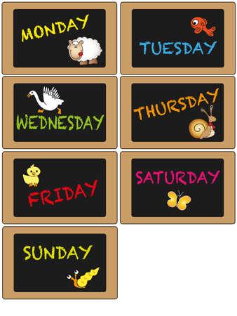 days of the week: Days of week on blackboard