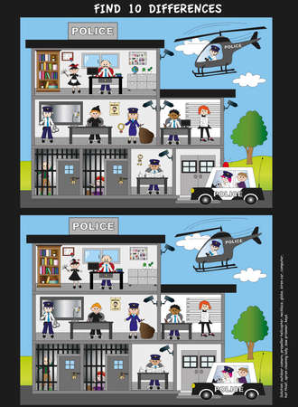 police station: game for children  find ten differences Stock Photo