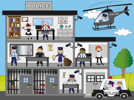 femme policier: commissariat de police Banque d'images
