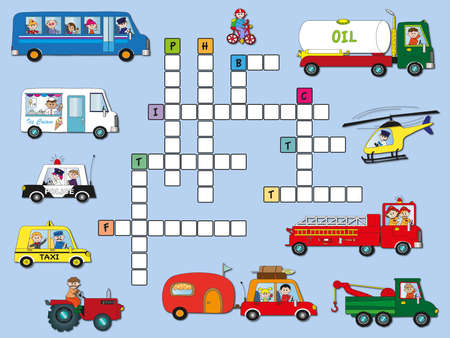 game for children  crossword transport photo