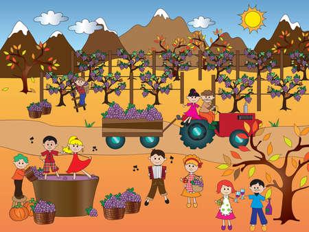 행복 한 사람들과 포도 수확의 그림 스톡 콘텐츠
