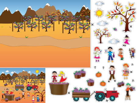 cut and paste: game for children: cut and paste
