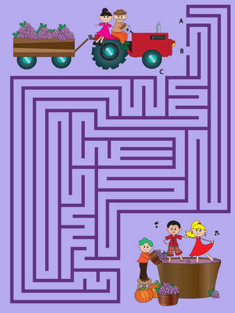 maze game: illustration with game for children: maze Stock Photo