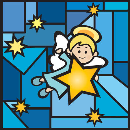 illustration of happy angel with star illustration