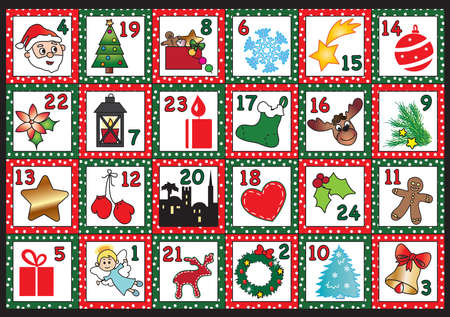 advent candles: advent calendar with funny icons Stock Photo