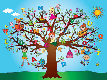 tree with school children photo