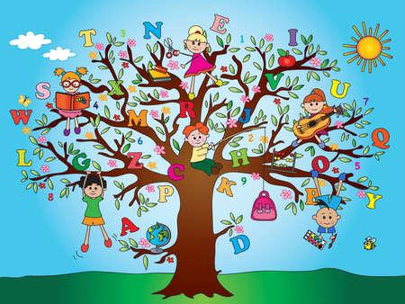 children s book: tree with school children