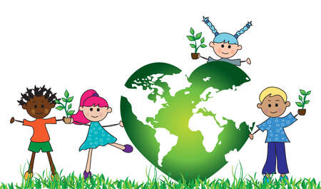 welfare: green world with children and plants