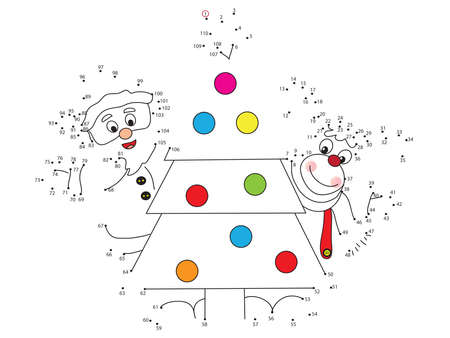 numers: Game for children for christmas: join the dots following the numbers.