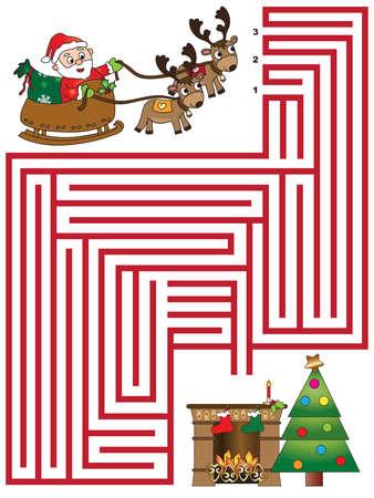 christmas games for children: maze Stock Photo