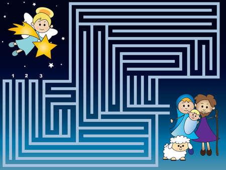 christmas games for children: maze Imagens