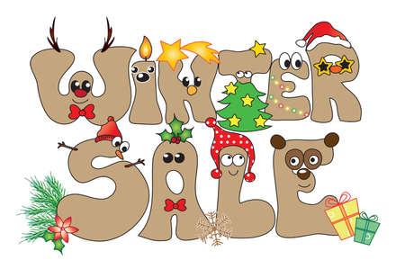 Illustration für lustige Winter verkaufen Standard-Bild - 33945732