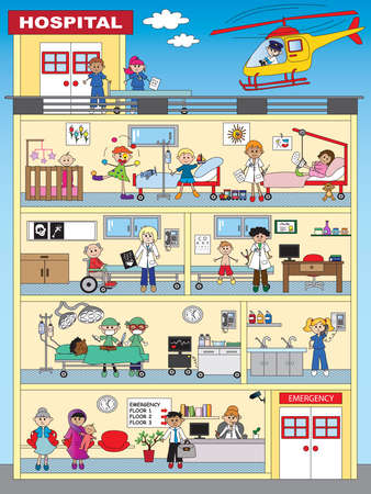 hospital stretcher: illustration of funny hospital with people