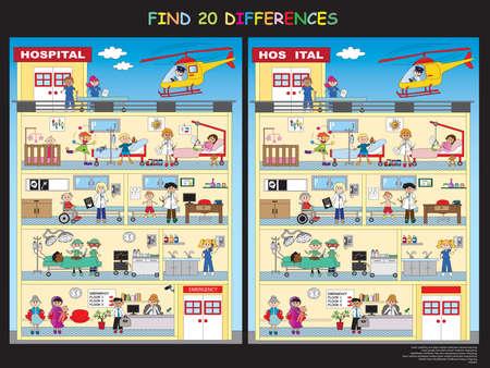 doctor dibujo animado: juego para los niños: descubrir los veinte diferencias en el hospital Foto de archivo
