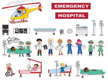 emergency room: hospital icons isolated