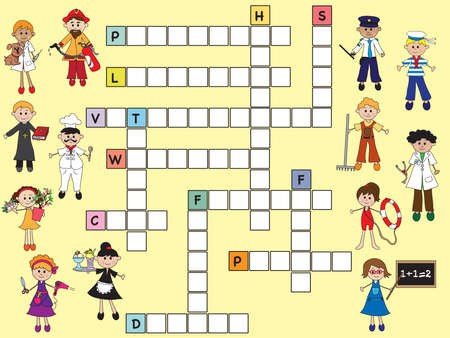 priest's ritual robes: illustration of easy crossword for children